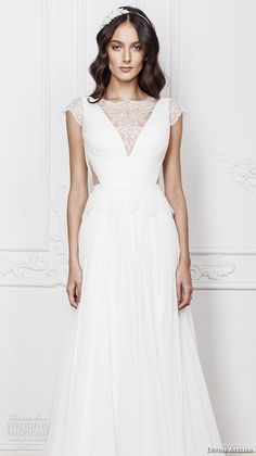 divine atelier 2016 bridal gowns cap sleeves v neckline with insert side cuts romanti a line wedding dress low back brush train (laris) zv