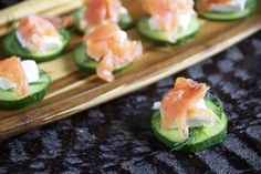 Smoked Salmon & Cucumber Stacks - Note: I like to use onion and chive cream cheese. MY ABSOLUTELY FAVORITE APP/SNACK!!! Five stars.