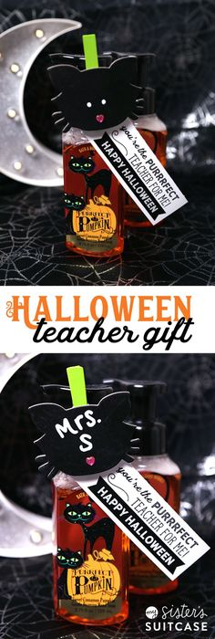 Halloween Teacher Gift + You're the purrrfect teacher printable tags! halloween memes Halloween Teacher Gift - My Sister's Suitcase - Packed with Creativity Fall Teacher Gifts, Halloween Teacher Gifts, Halloween Gift Baskets, Halloween Class Treats, Halloween Fun, Preschool Halloween, Halloween Designs, Haunted Halloween, Toddler Halloween