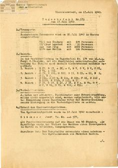 Announcement – arrival of the German and Austrian transports to the Terezin ghetto in Daily order; A3262