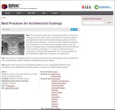 """Best Practices for Architectural Coatings,"" Hoffmann Architects Journal / Building Resource Information Knowledgebase (BRIK) from AIA and NIBS, June 2016."