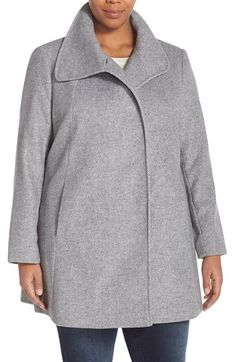 Larry Levine Envelope Collar Car Coat (Plus Size) available at #Nordstrom