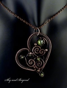 Le Sigh...... Isle of Eire - Copper Heart Pendant, Wire Wrapped with Green Tourmaline Stone, Peridot Stones and Copper Beads