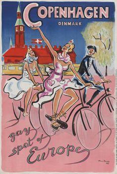 Vintage Copenhagen Denmark Gay Spot Europe Travel Poster