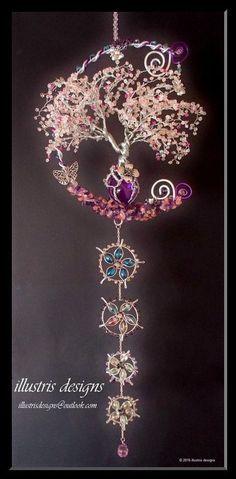 :: Crafty :: Bead :: Cherry blossom Wire Tree Sculpture / Windchime door illustrisdesigns
