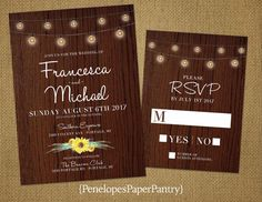Penelopes Paper Pantry is proud to list our collection Fall Wedding Invitations.  This listing is for printed invitations. The invitations are printed on a 100lb premium white matte card stock paper. All of our invitations are fully customizable including text and color.  The invitations are 5x7 and come with a white envelope. The RSVPs are 4x6 and also come with a white envelope. The invitations are sold separately as the invite only option or sets which include the matching RSVP. Envelopes…