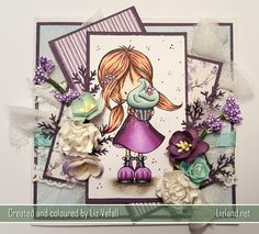 Lizland is a crafting website where cards made by the author are displayed including information of what tools were used to create said cards. Tiddly Inks, Copic Markers, 5th Birthday, Little Girls, Cupcake, Cards, Hair, Dress, Shoes