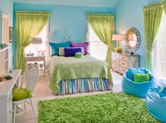 Teen Girl Bedroom Decorating Ideas | Mix of Seafoam Blues  Greens | DIY Girls Bedroom Ideas