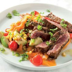 Spicy beef flank with corn and avo salsa South African Recipes, Ethnic Recipes, Beef Flank, Dry Coconut, Dried Figs, Ripe Avocado, 3 Ingredients, Cherry Tomatoes