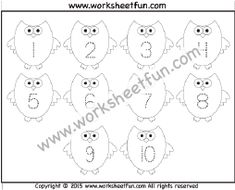 Halloween Themed Worksheet – Owl – Number Tracing – – One Worksheet / FREE Printable Worksheets – Worksheetfun Letter Tracing Worksheets, Printable Preschool Worksheets, Tracing Letters, Free Printables, Numbers Preschool, Free Preschool, Preschool Activities, Tracing Shapes, Number Tracing