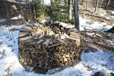 there is more than one way to stack fire wood and this is sturdier that just one long line.