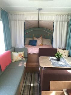 Pop up camper remodel... New design for the drab pop-up.