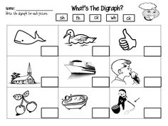 Digraph Worksheets: th, sh, ch, wh, ph, ee, short oo, and long oo ...