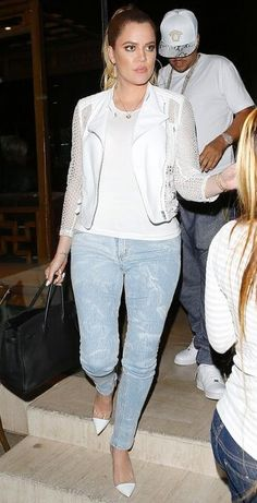 2014-04-14 Khloe Kardashian wearing Ygal Azrouel Eyelet Jacket, Gianvito Rossi PVC Combo Pump and Hermes Birkin bag at Dinner at Crustacean, LA, Ca.