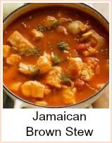Families have their own recipe for jamaican brown stew, passed down from generation to generation - this recipe is one that has the most common ingredients I've found.  It tastes fantastic - is very adaptable - the color comes largely from the flavorings and seasonings.  It's good served over rice and peas. Just add a pack of frozen peas to the rice for the last few minutes of cooking.