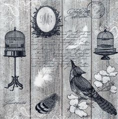 Decoupage Paper Napkins Vintage Birds & Cages (1x Napkin) - ideal for Decoupage, Collage, Mixed Media, Crafts
