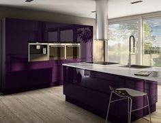 This is actually so adorable and chic! i love it. Purple Kitchen.