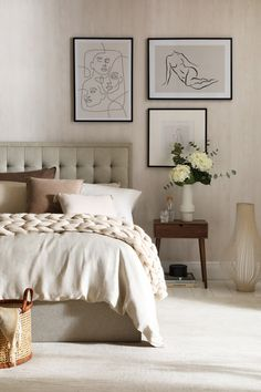 Cosy Bedroom, Bedroom Inspo, Bedroom Decor, Bedroom Ideas, Monochrome Bedroom, Bedroom Wallpaper Neutral, Bold Wallpaper, Textured Wallpaper, Walnut Bedside Table