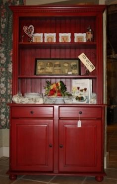 I Love Our Upcycled Red Hutch! | Living Room | Pinterest | Red Hutch, Paint  Furniture And China Cabinets
