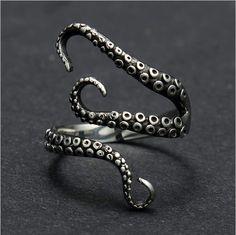 Anello Octopus argento regolabile di PaperSreetJewelry su Etsy