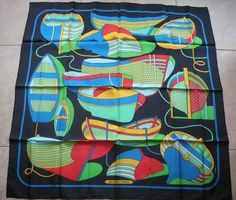 Authentic Hermes Silk Twill Scarf Thalassa by P. Peron 1973
