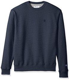 Champion Men's Powerblend Fleece Pullover Sweatshirt, Navy Heather, Medium.