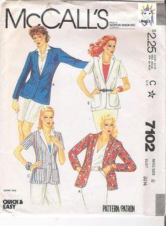 McCalls 7102 Womens Pattern Jacket Patterns by VintageYacketUSA