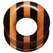 Striped Wooden Flesh Tunnel. Buy now at www.bodyjewelrypiercing.com #fleshtunnels #plugs #fleshplugs #bodyjewelry #bodypiercing #piercingjewelry #piercingfashion