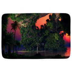 Gatterwe: Island By Night Bathmat: A colorful tropical cave on an island by night. Where holiday feelings come up! Bath Products, Bath Mat, Cave, Tropical, Colorful, Island, Feelings, Night, Holiday