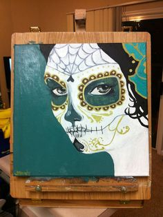 Verde Day of the Dead Painting - SOLD  Interested?  I can do another like this for you.  Just contact me at mandyterry@gmail.com