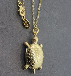 """Anna Beck Bali Large Gold Turtle - 14K Gold Plated Over Sterling Silver Bali Large Turtle Necklace, 30"""" chain."""