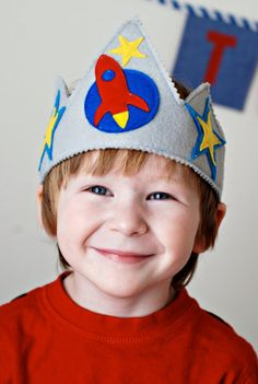 Rocket Ship Felt Crown by TheLazyOwl on Etsy