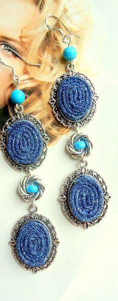 Blu orecchini di tessile fibra orecchini di eMDesignBoutique
