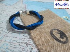 Bracciale con chiusura in Zamak Blu e azzurro - Men's nautical bracelet with zama clasp