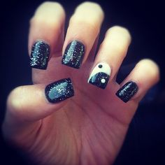 gel nails--like the black and sparkle...not the ying/yang thing though...