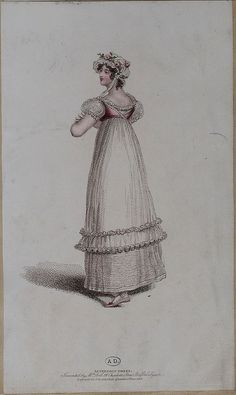 Back view of pink and white gown 1816 belle assemblee?