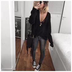 «Bonne soirée! • Sunglasses #saintlaurent (from @monnierfreres) • Knit #designersremix (on @cyrielleforkure) • Bra #joliesmomes (from @jolies_momes) • Jean…»