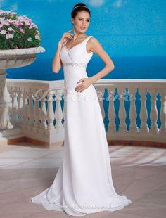 Sheath/ Column Chiffon Lace Floor-length V-neck Wedding Dress - $174.99