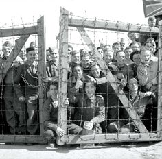 Allied POWs at Stalag XI-B welcome British liberators from B Squadron 11th Hussars and the Reconnaissance Troop of the British 8th Hussars. April 16th 1945. [1800 x 1772]