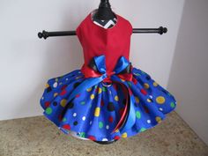 Dog Dress XS Red with blue and Large by NinasCoutureCloset on Etsy
