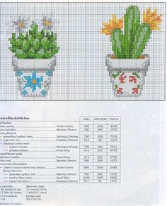 Cacti in pots free cross stitch patterns Cactus Cross Stitch, Tiny Cross Stitch, Cross Stitch Flowers, Cross Stitch Charts, Cross Stitch Designs, Cross Stitch Patterns, Cross Stitching, Cross Stitch Embroidery, Beading Patterns