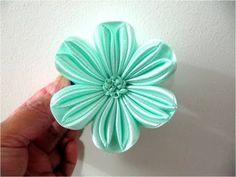 ▶ Moños en cintas para el cabello flor de seis pétalos calados - YouTube