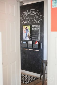 "Erica's ""Chalkboard Command Center"" Entryway Makeover Decor, Nursery Wall Decor, Chalkboard Command Center, Metal Wall Decor, Wall Board, Room Wall Decor, Entryway, Chalkboard, Chalkboard Wall"