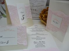 Lace Menu, Place Card, Table Number  or Thank You Card.