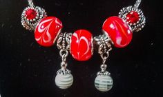 Red and white euro style (pandora style) necklace with flash! by tonispretties on Etsy