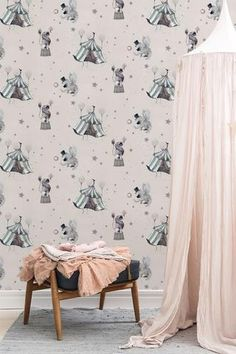 Circus Mighetto Wallpaper - Powder Pink