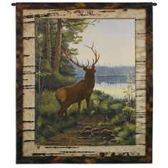Dress up your lodge or cabin with the majestic beauty of a single elk as so beautifully depicted in the Fine Art Tapestries Elk Wall Tapestry. This stunning tapestry commands quiet reflection on the serenity of nature. Wildlife Quilts, Wildlife Art, Lake Animals, Rustic Art, Weaving Art, Tapestry Wall Hanging, Moose Art, Wall Art, Wall Murals