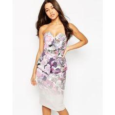 ASOS Premium Ombre Floral Scuba Bandeau Midi Dress