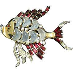 Rare CROWN TRIFARI 'Alfred Philippe' Demilune Claire de Lune Moonstone Fish Brooch Pin