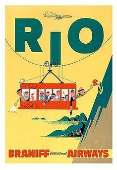 rio,brazil,braniff,cable car,sugar loaf mountain,rio de janeiro,copacabana,ipanema,vintage airline travel poster,vintage travel poster,retro,poster art,vintage advertising,vintage travel,